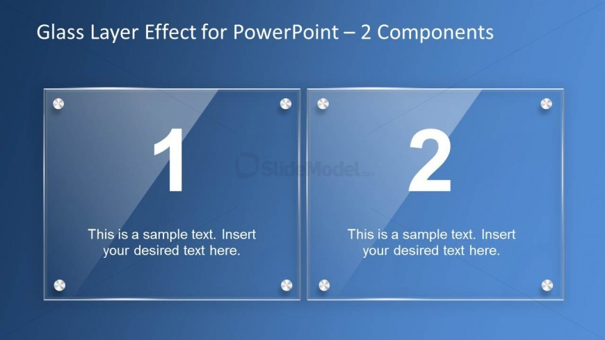 Glass Effect PowerPoint Slide Design - 2 Components