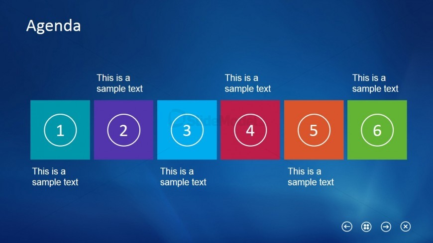 Horizontal Layout Slide Design Agenda for PowerPoint
