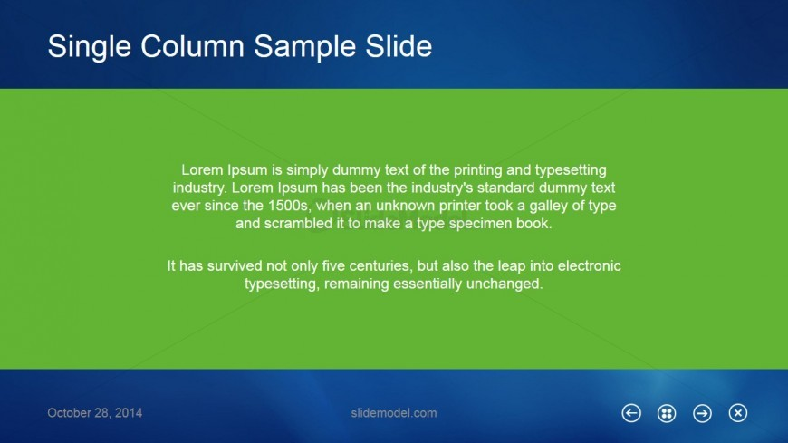 Single Column Sample Slide Design for PowerPoint