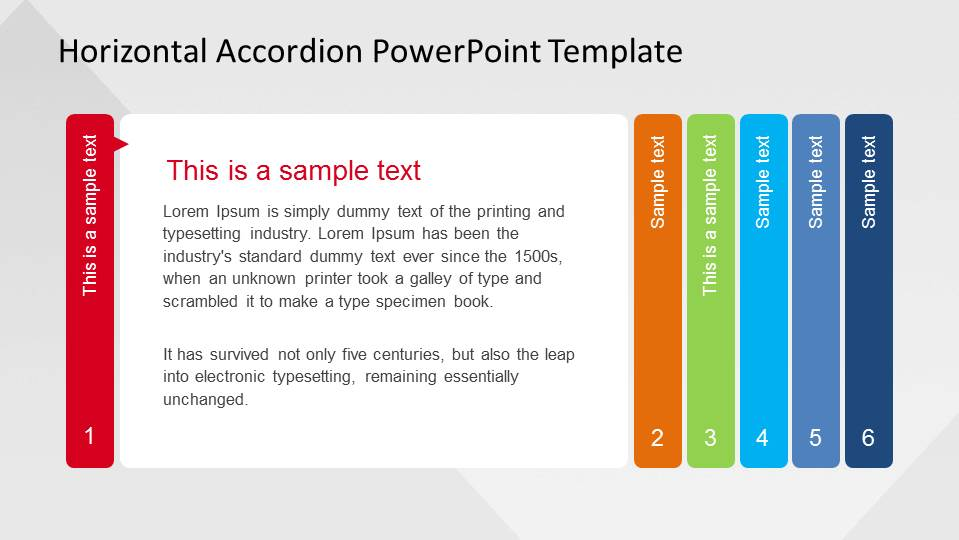 Horizontal Accordion Powerpoint Template Slidemodel
