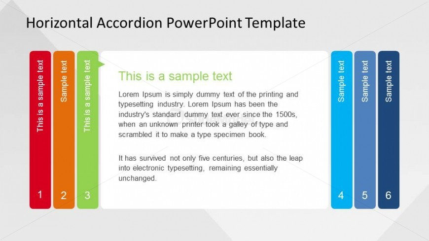 Step Three of PowerPoint Horizontal Accordion