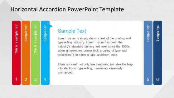 Step 4 PowerPoint Horizontal Accordion