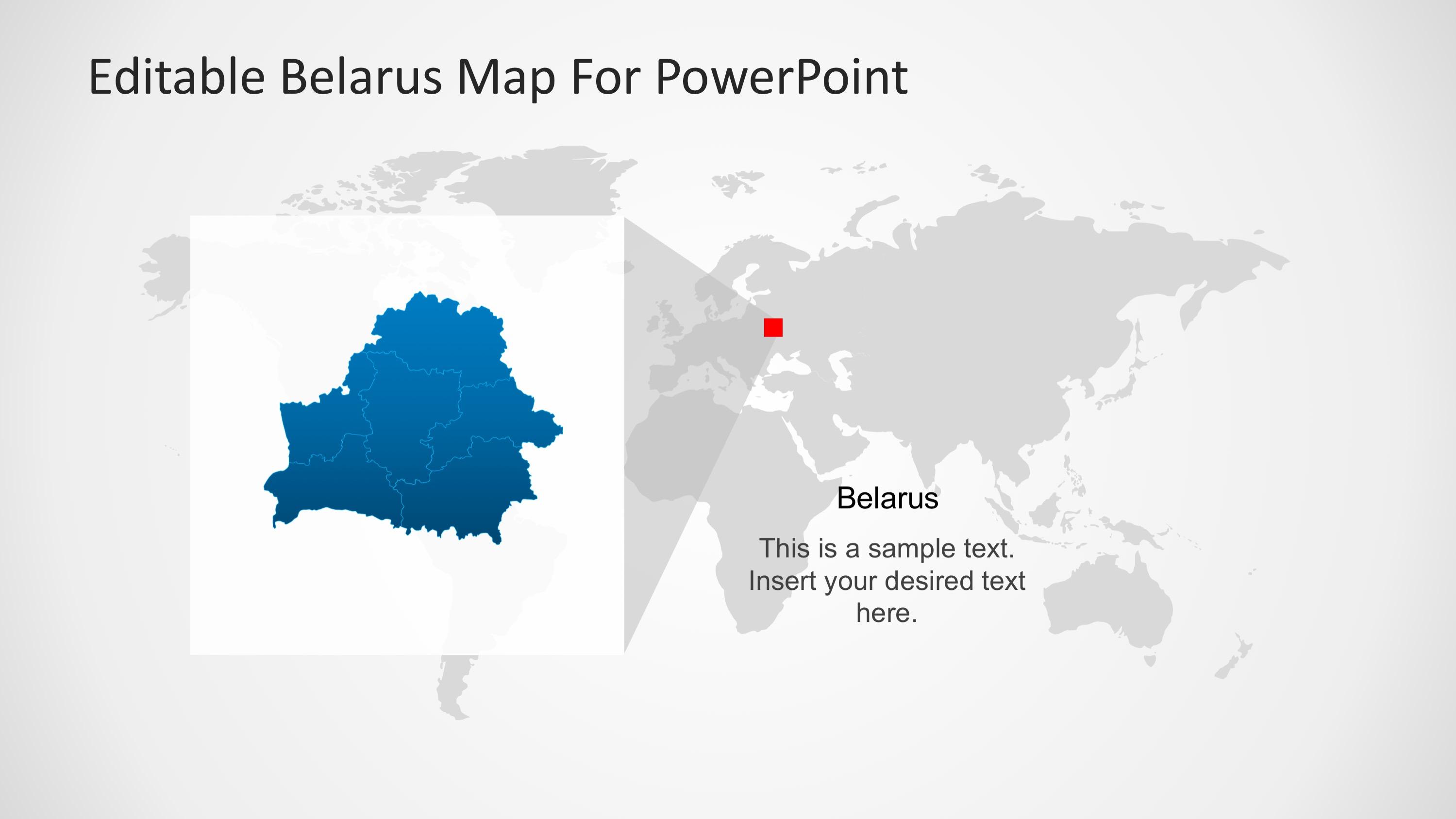 PPT Map Templates of Belarus in Worldmap