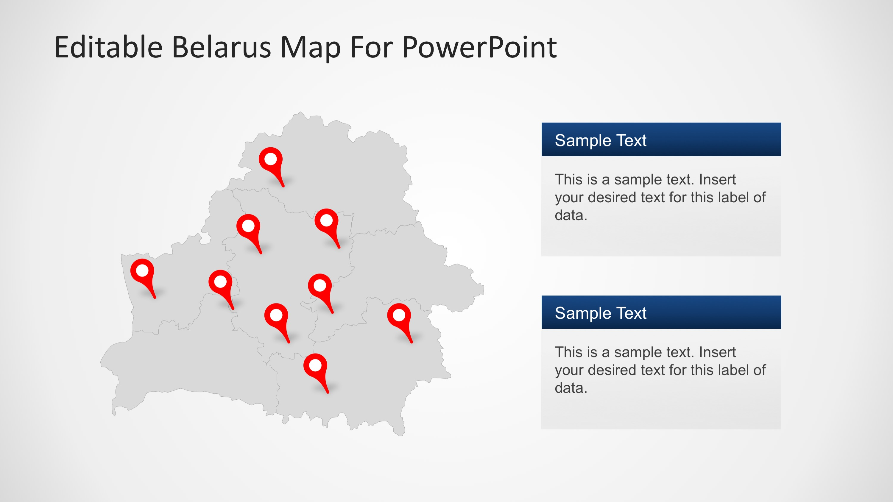 Belarus Editable PowerPoint Map with Location Markers