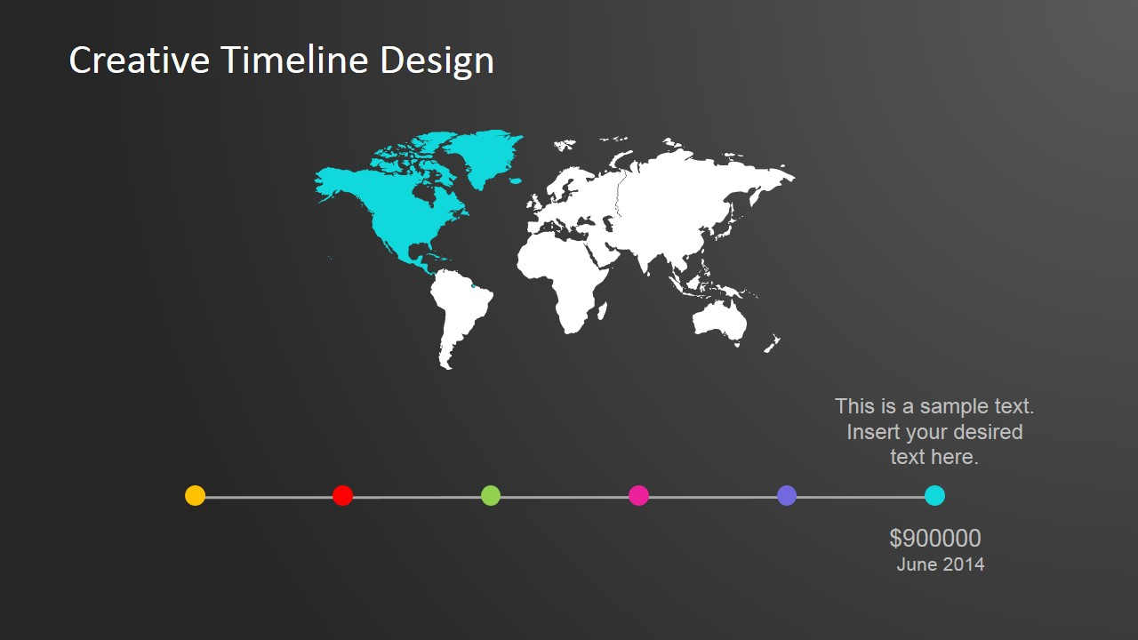 continental worldmap horizontal powerpoint timeline