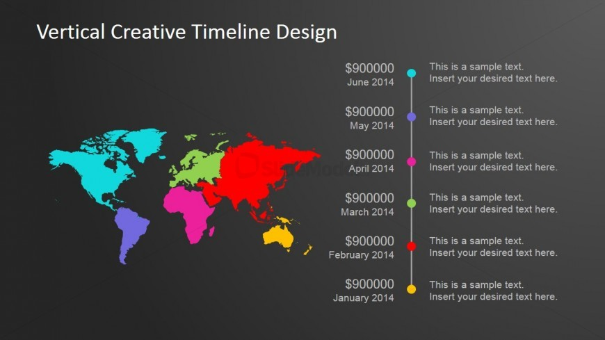 Color Coded World Map Vertical Timeline Design
