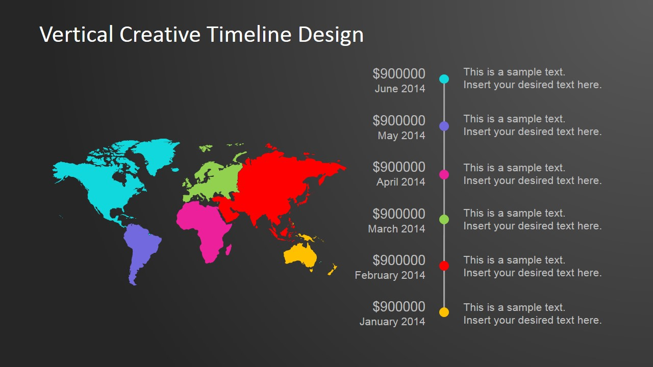 Vertical Creative Timeline Design for PowerPoint SlideModel