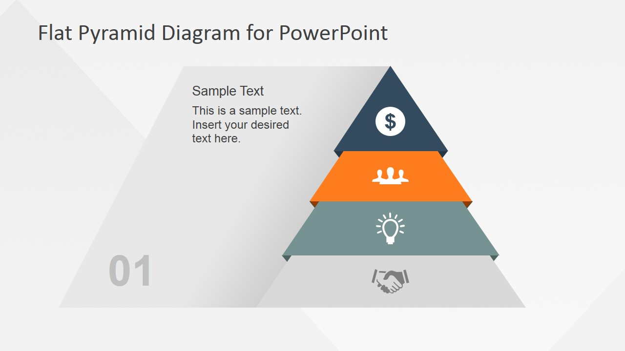 4 levels flat pyramid diagram template for powerpoint
