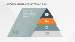Flat Pyramid Diagram 4 Steps - 2 Level