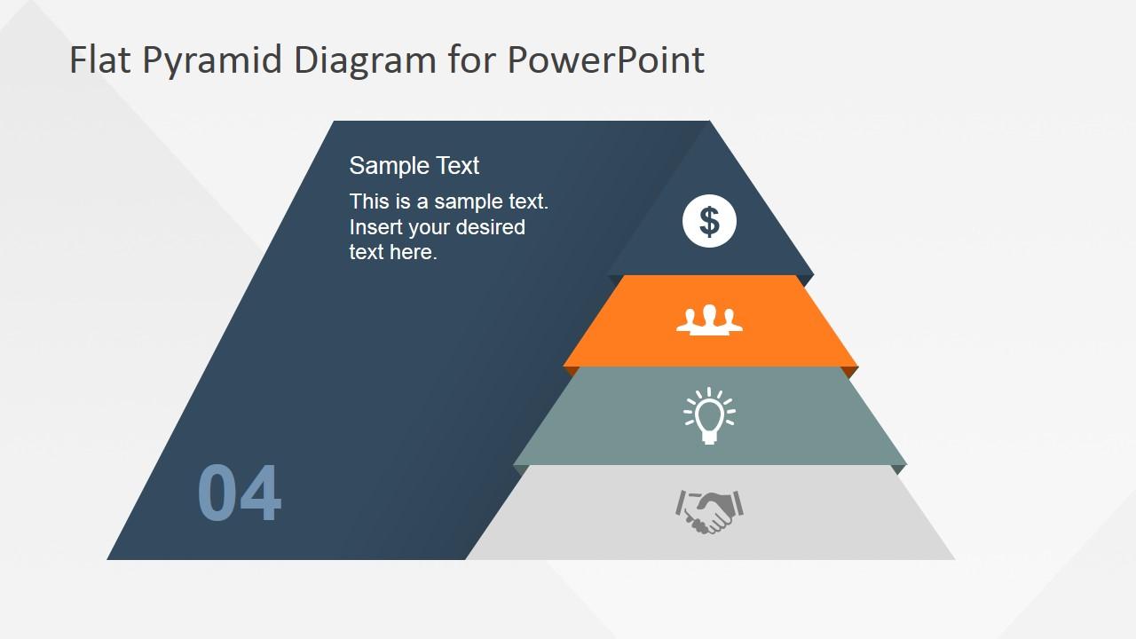 Flat Pyramid Diagram 4 Steps - 4 Level