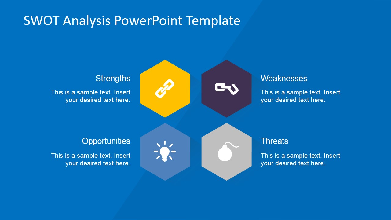 creative swot flat design diagram for powerpoint