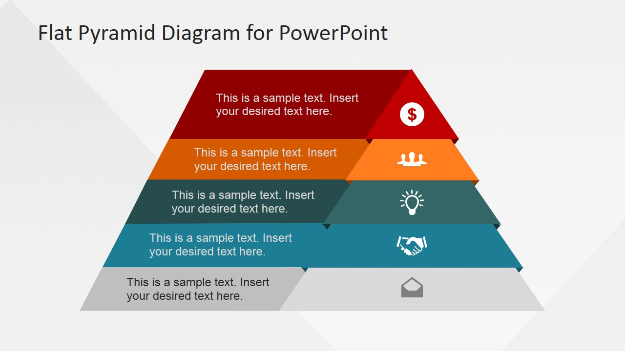 5 Levels Flat Pyramid Diagram Template for PowerPoint - SlideModel