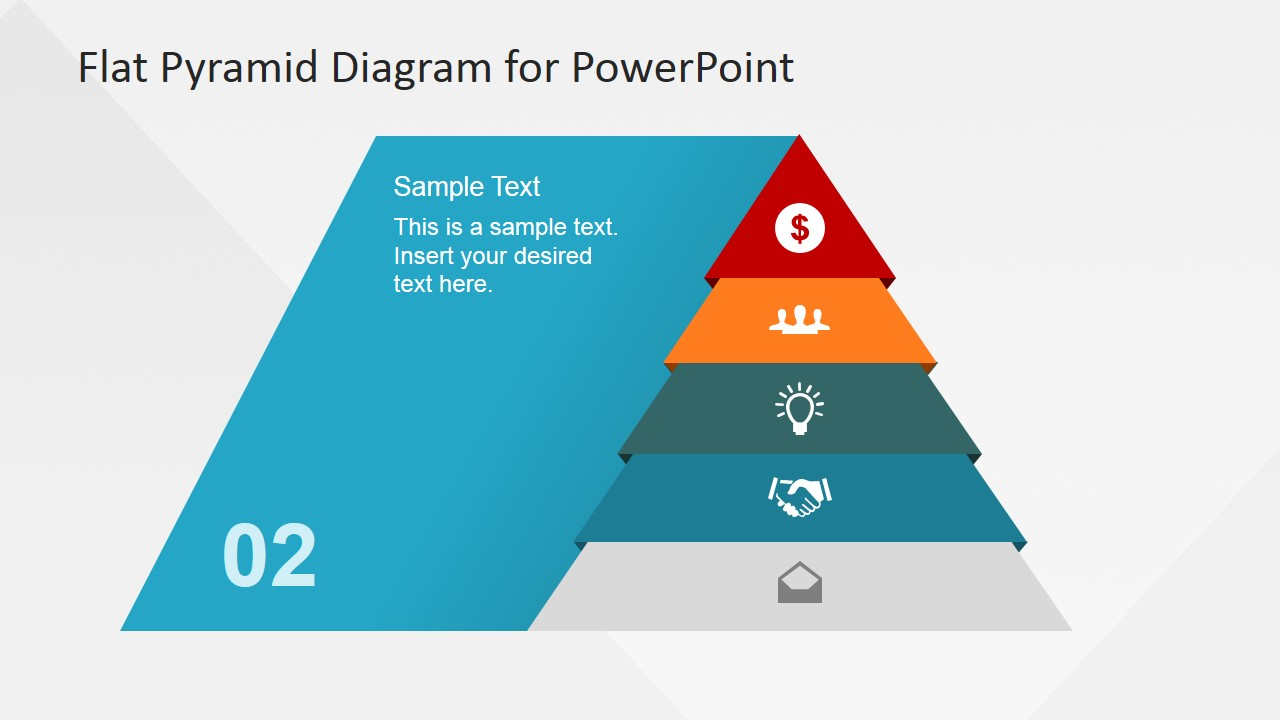 5 levels flat pyramid diagram template for powerpoint slidemodel