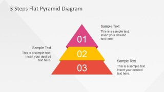 Flat PowerPoint Pyramid 3 Steps Described