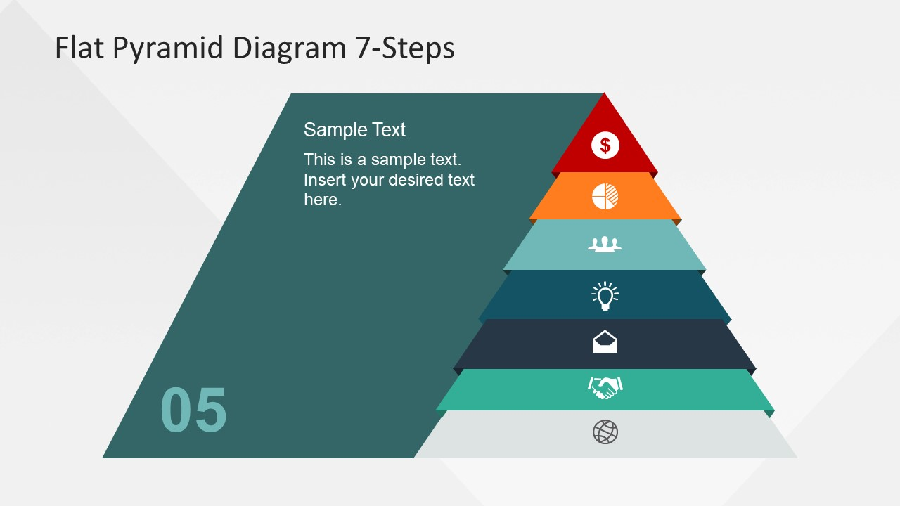 7 steps flat pyramid powerpoint diagram slidemodel
