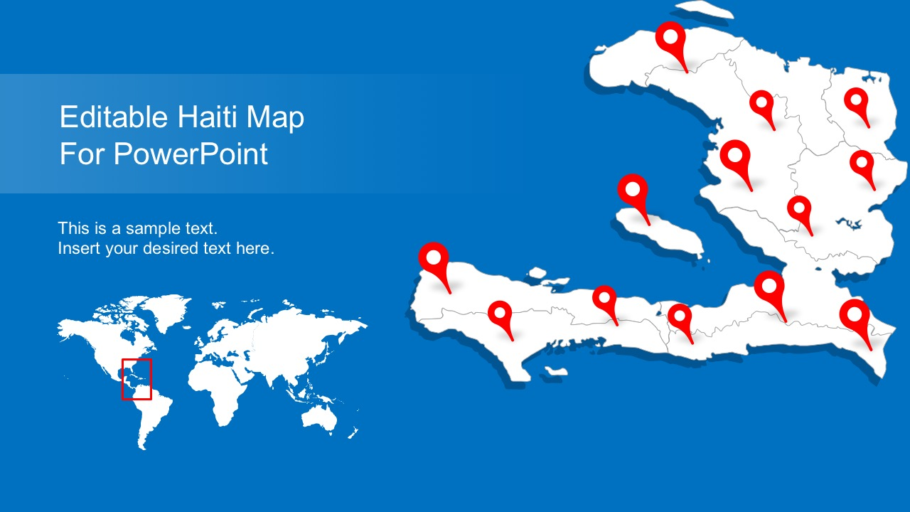 Editable haiti map with states slidemodel haiti state map slides for presentation sciox Choice Image