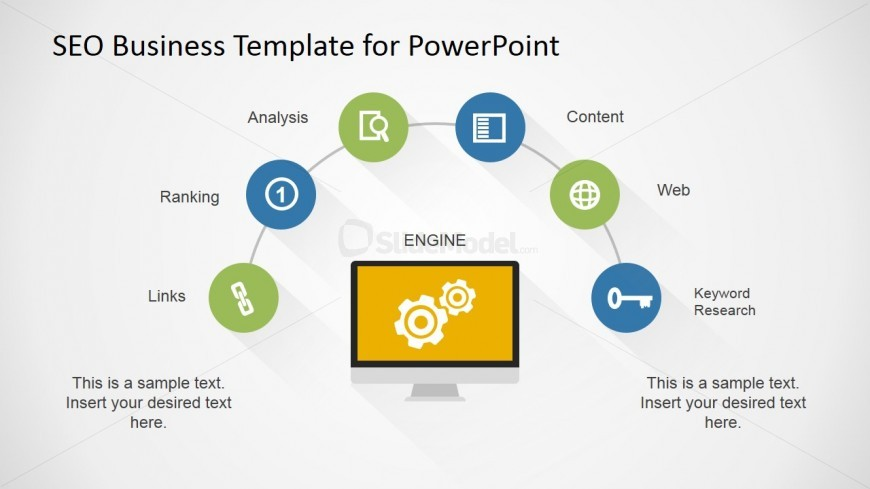 6 Steps SEO Diagram Design for PowerPoint