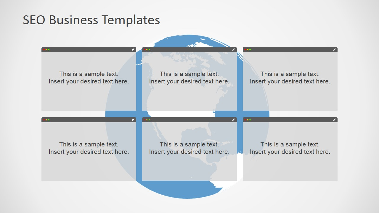6 Text Boxes Slide Design for PowerPoint with Globe