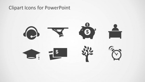 Misc Icon Clipart Set for PowerPoint with Gray Background
