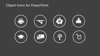 Set of Icons over Gray Background for PowerPoint