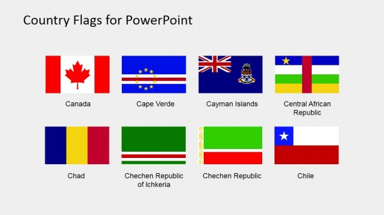 Flags for Country Maps PowerPoint Slide Design