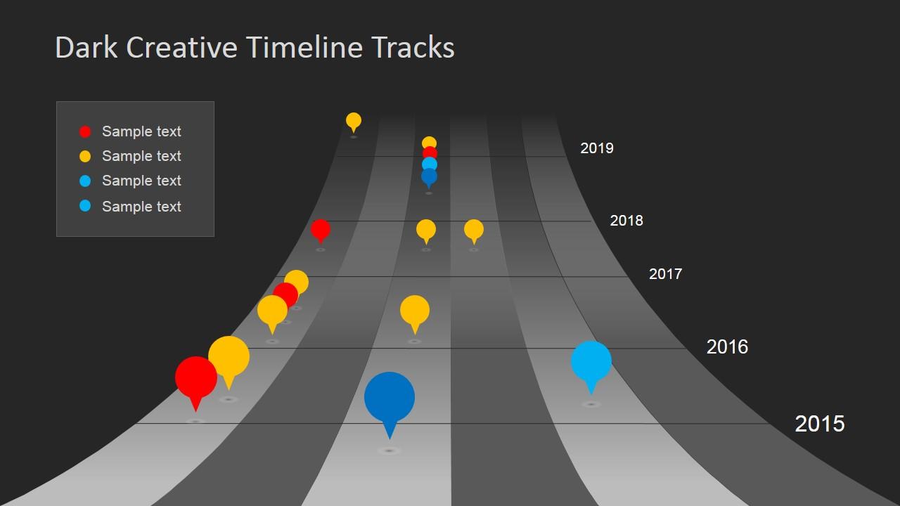 dark timeline tracks powerpoint template