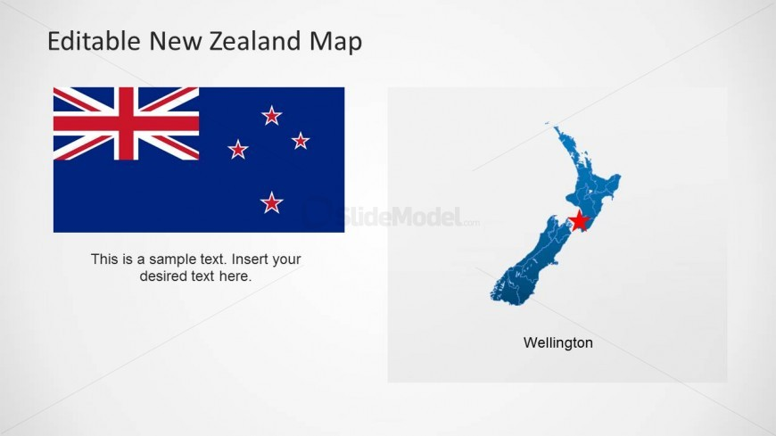 Flag of New Zealand & Wellington Map