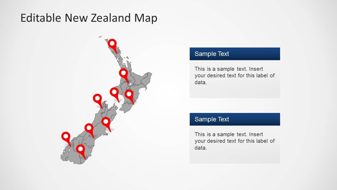 Editable new zealand map powerpoint template slidemodel new zealand clipart map design 2 text boxes toneelgroepblik Gallery