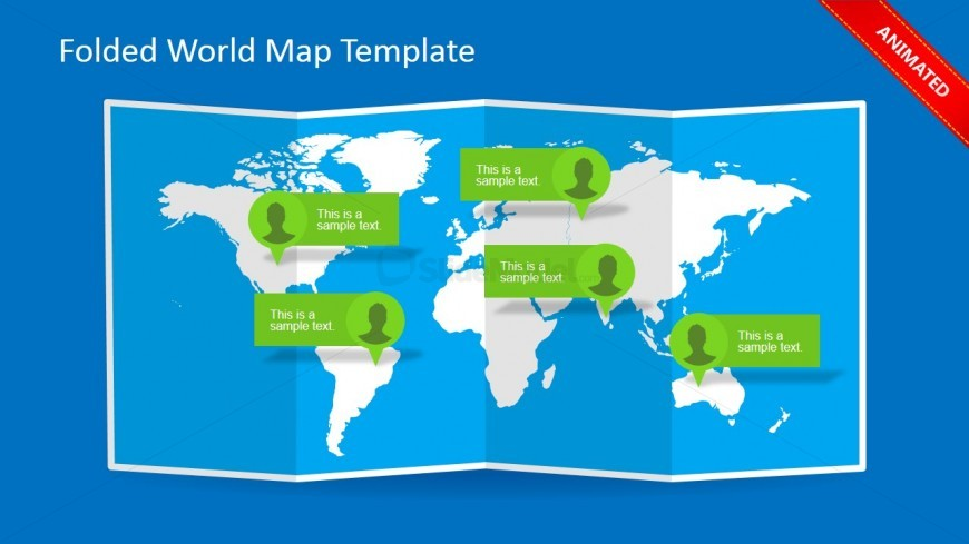 World Map Callout PowerPoint Slide Design with 3D Folded Effect