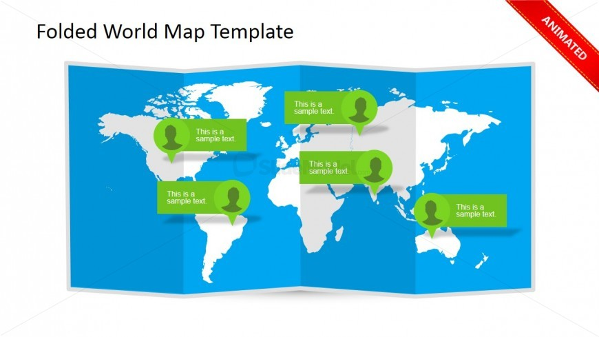 Folded world map clipart for powerpoint slidemodel world map clipart design with callouts for powerpoint presentations and 3d folded effect gumiabroncs Gallery