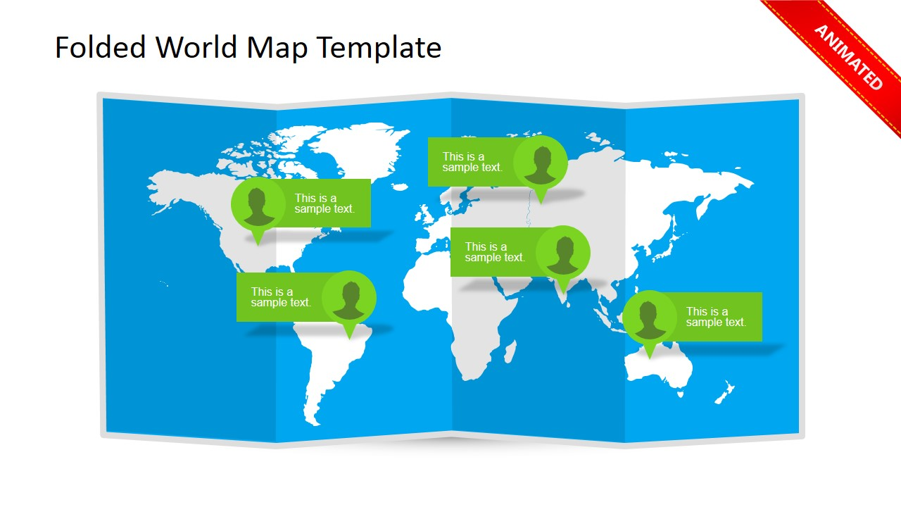 world map clipart design with callouts for powerpoint presentations and 3d folded effect