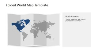 North America Clipart for PowerPoint in a 3D Folded Worldmap