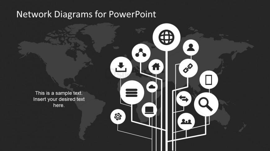 Simple Dark Network Diagram Slide Design for PowerPoint