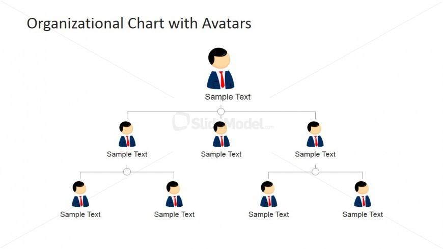 3 Levels Org Chart PowerPoint Slide Design