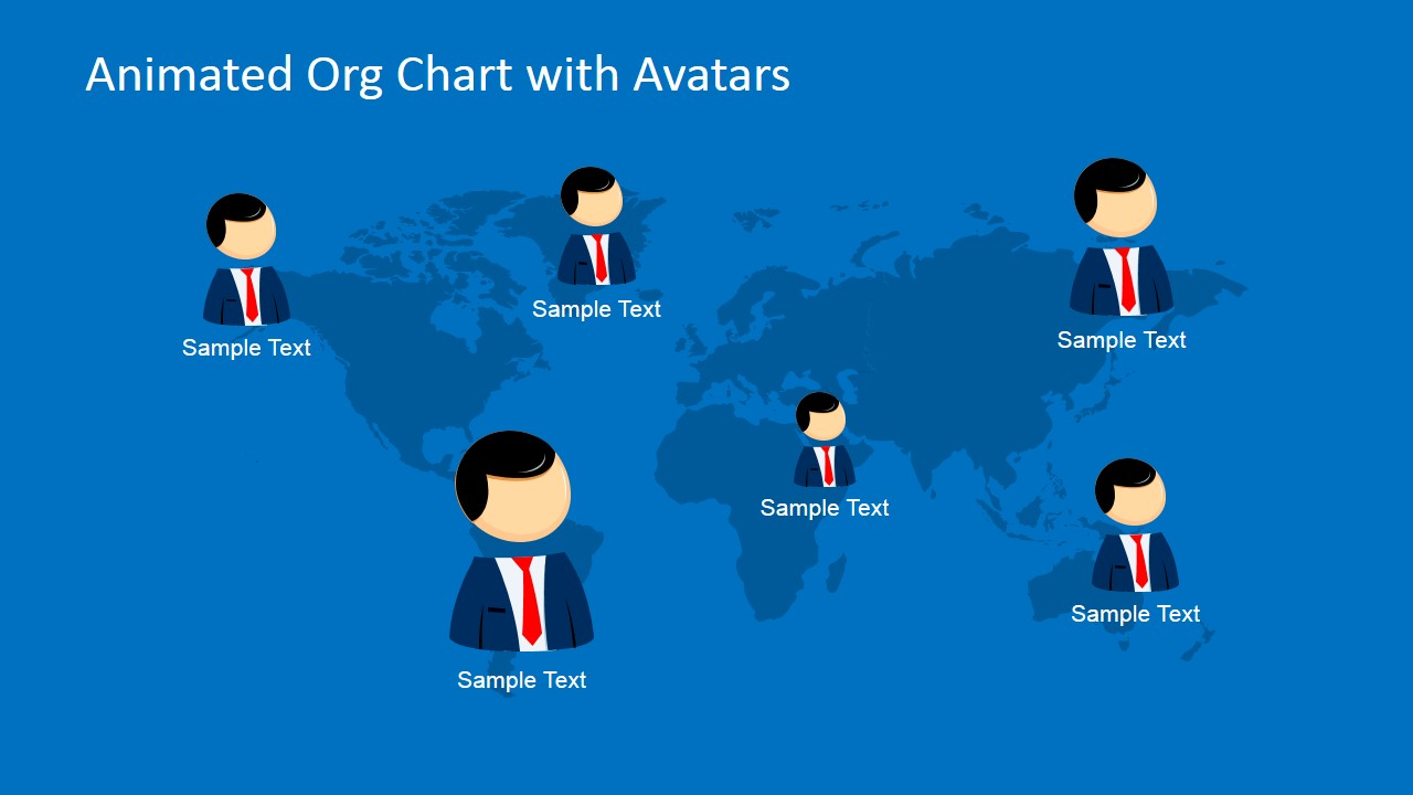 Animated org chart powerpoint template slidemodel powerpoint with avatars world map organizational chart with avatars gumiabroncs Image collections
