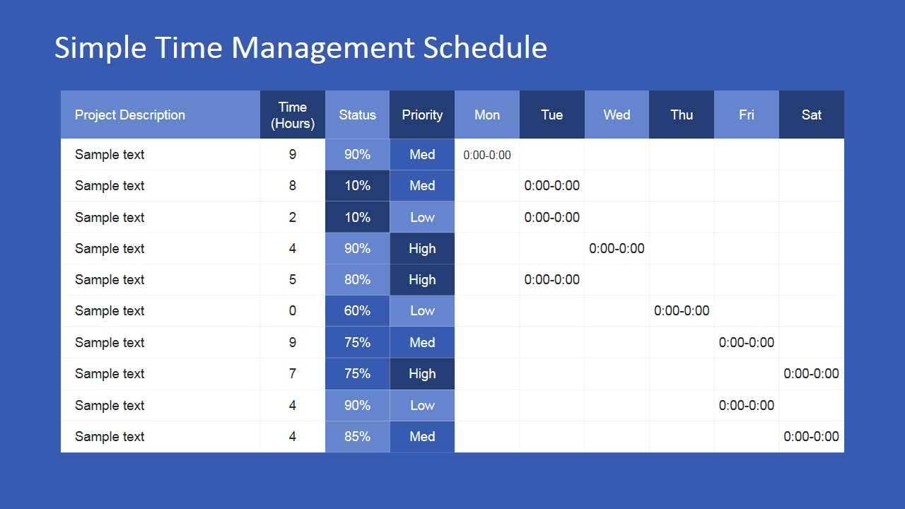 Simple time management powerpoint table slidemodel team time management powerpoint presentation toneelgroepblik Gallery