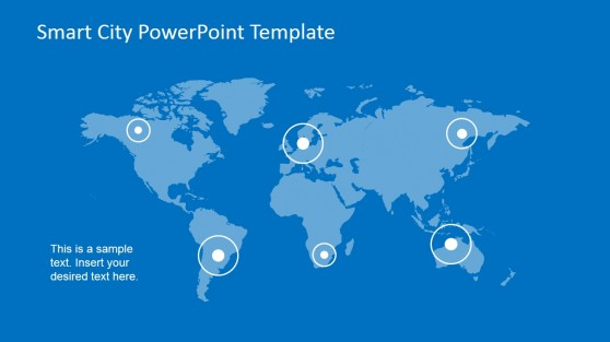 PowerPoint World Map with Pointer to Smart Cities