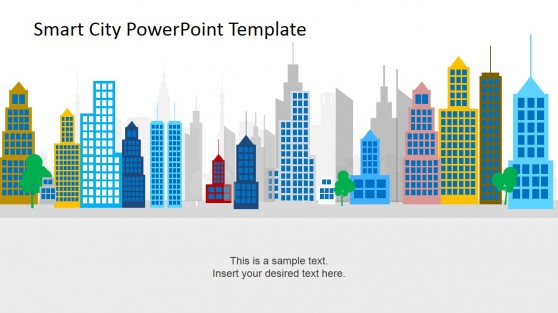 Colorful Flat Design City Background PowerPoint Shapes