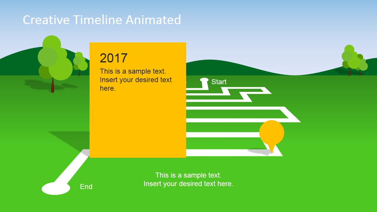 animated landscape powerpoint timeline slidemodel