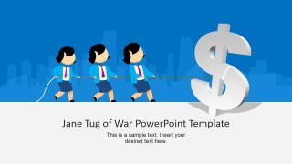 Female Cartoon Pulling the Rope for PowerPoint with Dollar Sign Clipart