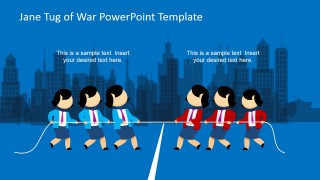 Jane Tug of War in the City Clipart for PowerPoint