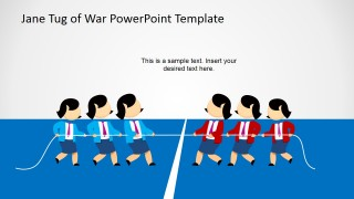 Female Cartoon Playing Tug of War for PowerPoint