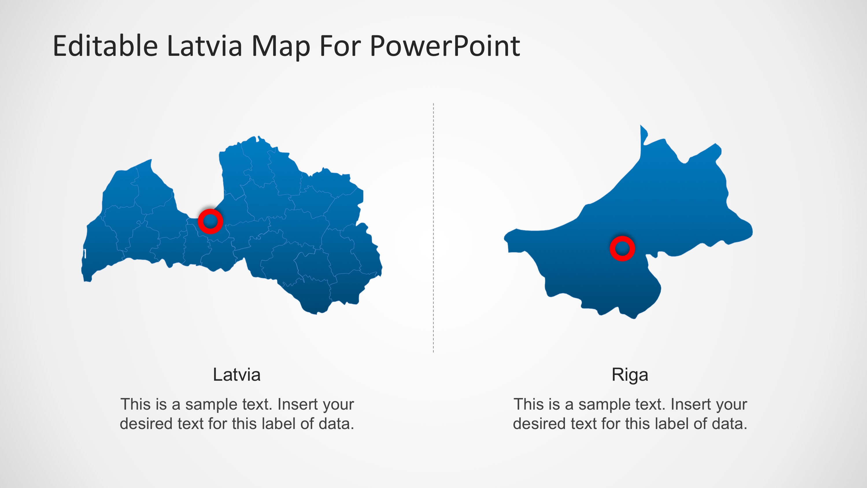 PowerPoint Map of Latvia with Capital City