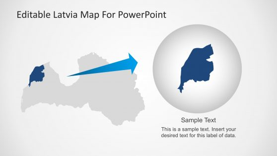Highlighted State in Latvia Map for PowerPoint