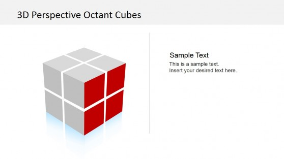 3D Cube Red Right Front Side PowerPoint Slide