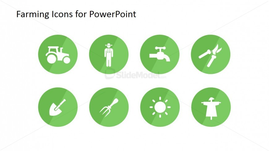 PowerPoint Icons Flat Design Featuring Farming Scenes