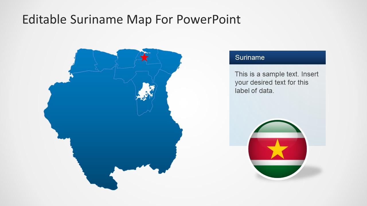 editable suriname map for powerpoint slidemodel