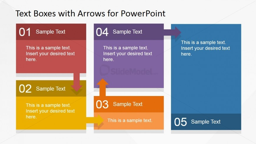 Workflow Texbox And Arrows Diagram For Powerpoint Slidemodel