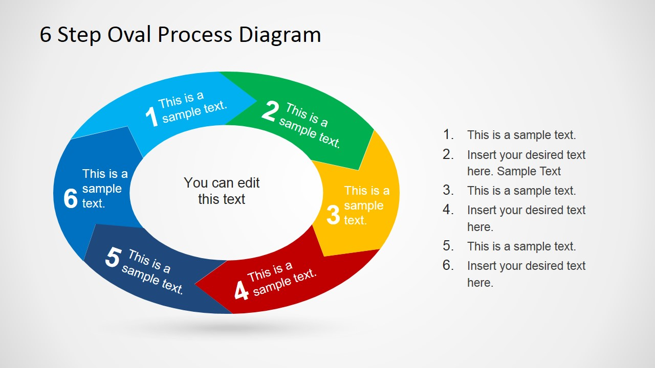 6 step oval process diagram template for powerpoint slidemodel