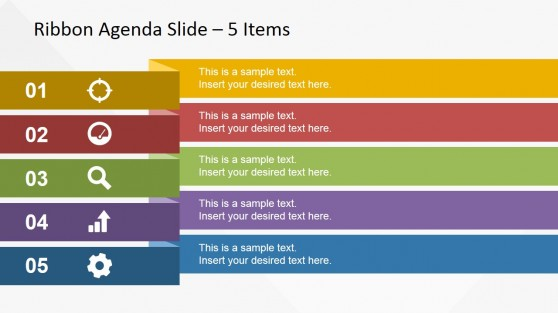 Wide Ribbon Design for Presentation Agenda Slides